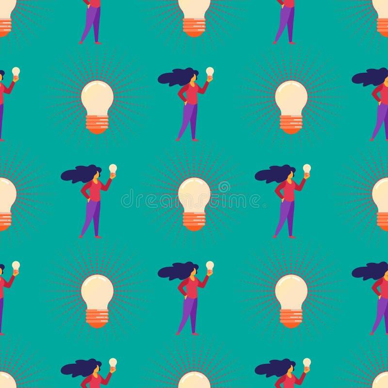 Modelo inconsútil con la muchacha y las bombillas enormes ilustración del vector