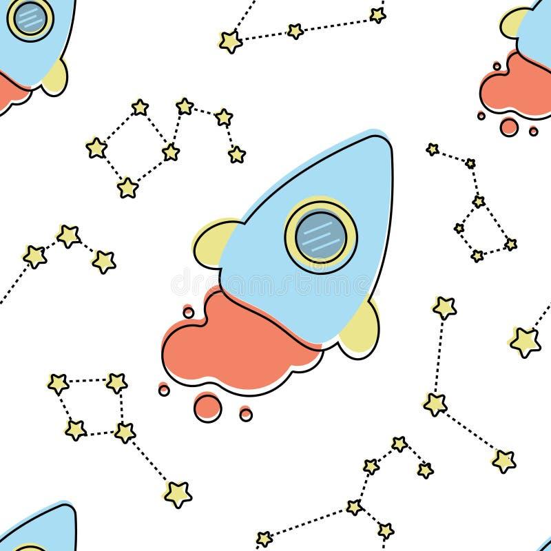 Modelo inconsútil con la nave espacial de la historieta ilustración del vector