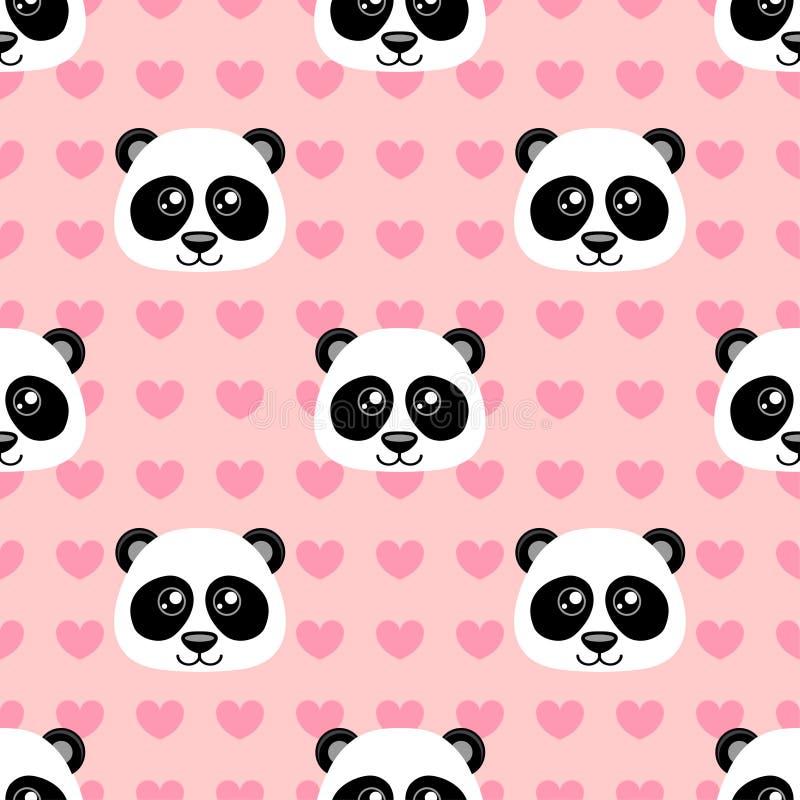 Modelo inconsútil con la panda linda de la historieta y corazón en fondo rosado ilustración del vector