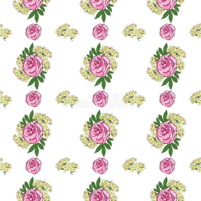Modelo inconsútil con la peonía y las pequeñas flores blancas en el fondo blanco Pintura de Digitaces imagen de archivo libre de regalías
