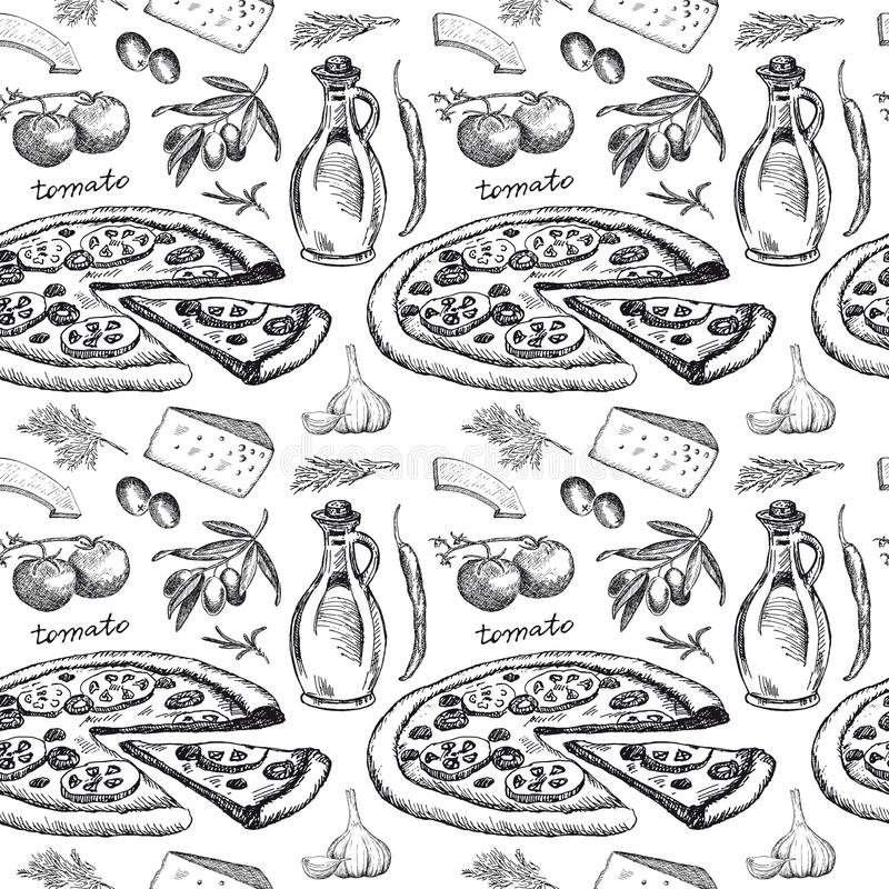 Modelo inconsútil con la pizza stock de ilustración