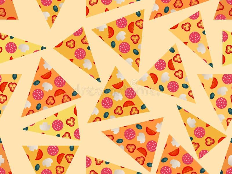 Modelo inconsútil con la pizza Ilustración del vector ilustración del vector