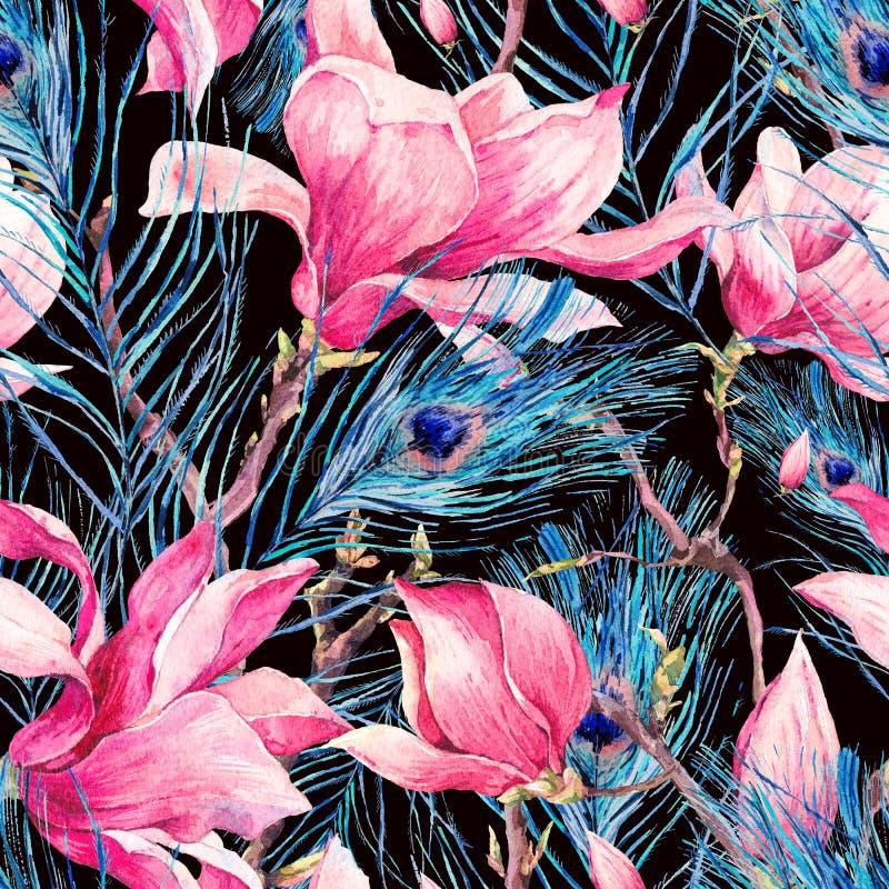 Modelo inconsútil con la pluma de la magnolia y del pavo real libre illustration