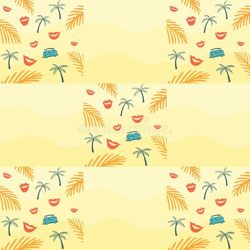 Modelo inconsútil con la rama de la palma y autobús y labios libre illustration