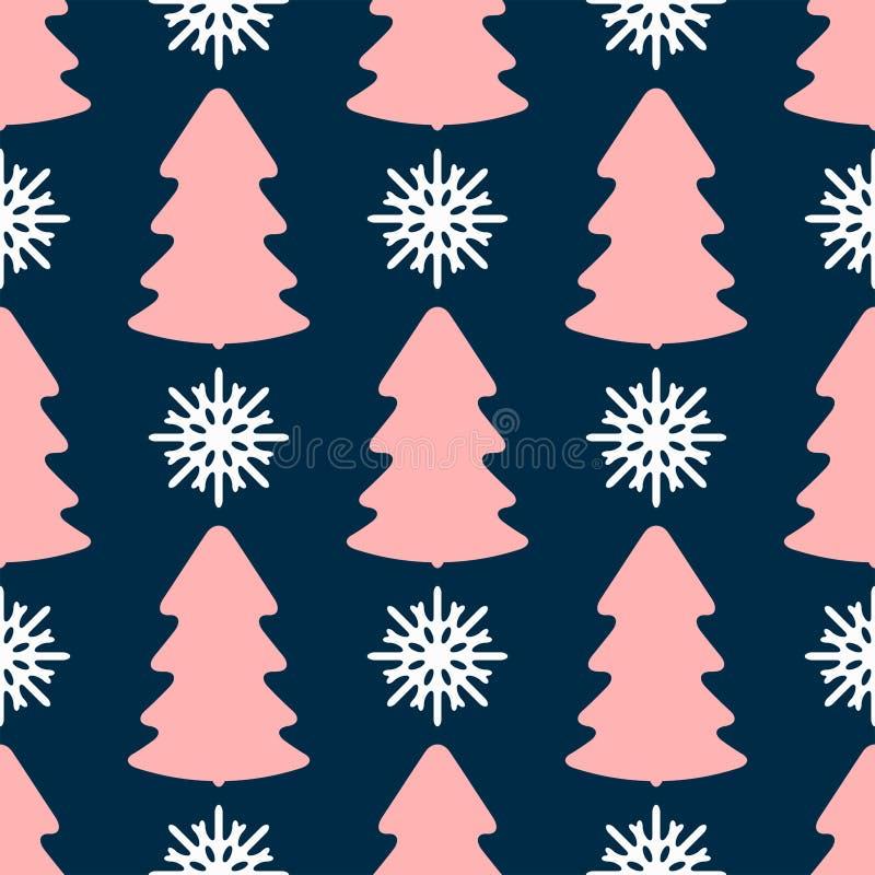 Modelo inconsútil con la repetición de siluetas coloreadas de copos de nieve y de árboles de navidad Impresi?n del A?o Nuevo libre illustration