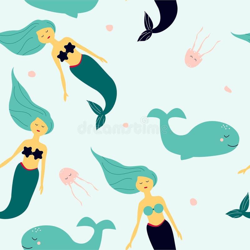 Modelo inconsútil con la sirena y las ballenas que nadan libre illustration