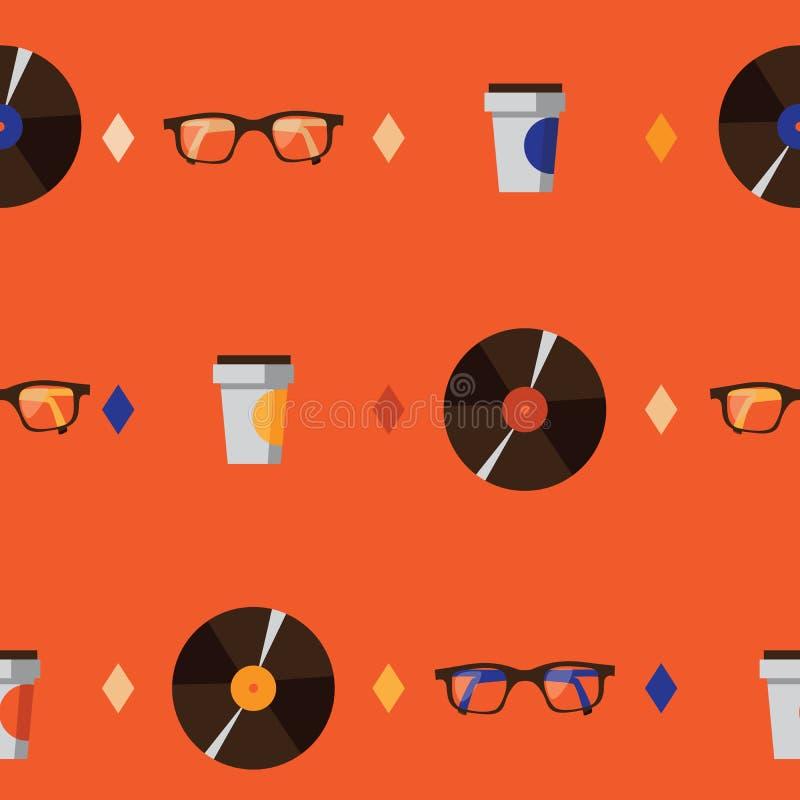 Modelo inconsútil con la taza de los vidrios, del disco de vinilo y de café del inconformista en fondo brillante anaranjado Ejemp libre illustration