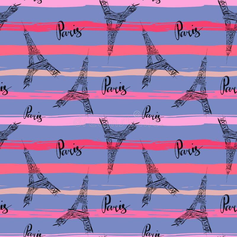 Modelo inconsútil con la torre Eiffel y palabras París en rayas en estilo sucio ilustración del vector
