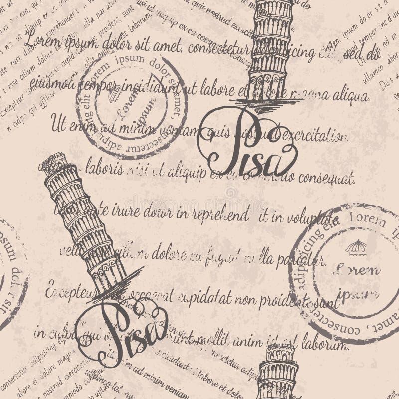 Modelo inconsútil con la torre inclinada dibujada mano de Pisa, poniendo letras a Pisa y al texto descolorado ilustración del vector
