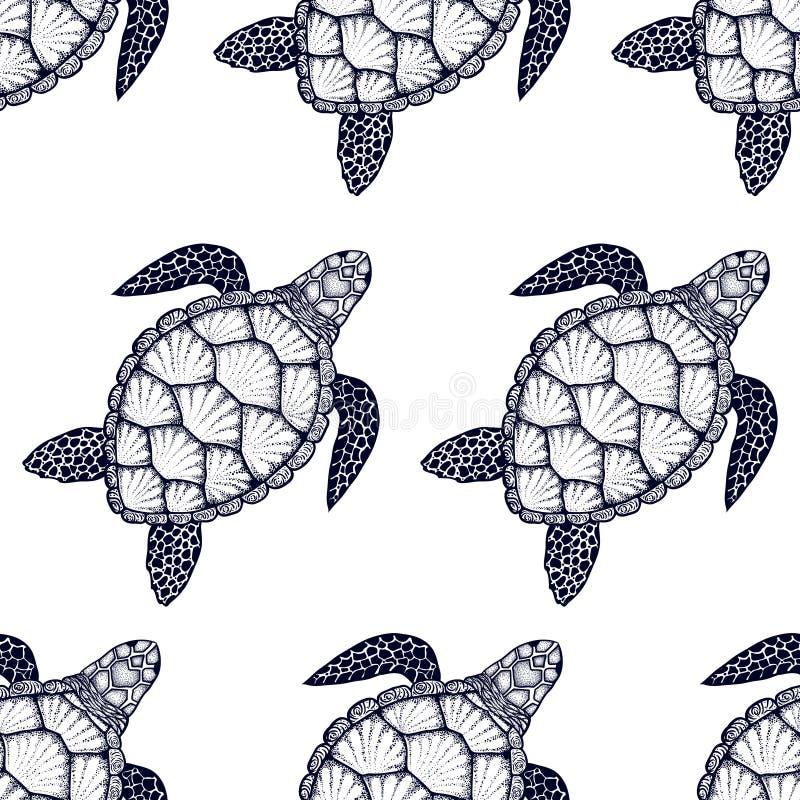 Modelo inconsútil con la tortuga de mar en la línea estilo del arte Ilustración drenada mano del vector Elementos del océano stock de ilustración