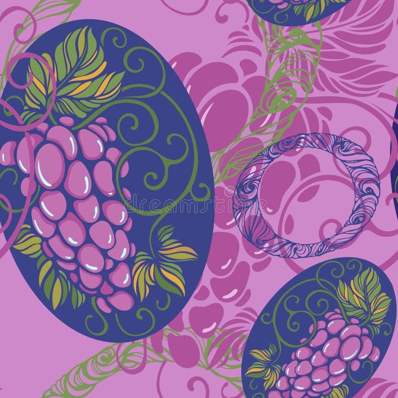 Modelo inconsútil con la uva libre illustration