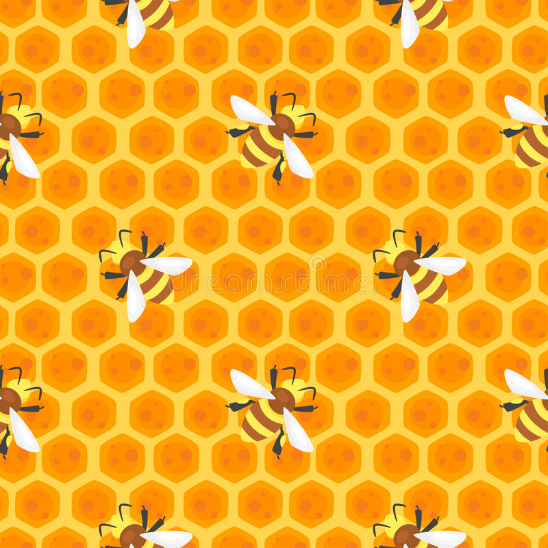Modelo inconsútil con las abejas stock de ilustración