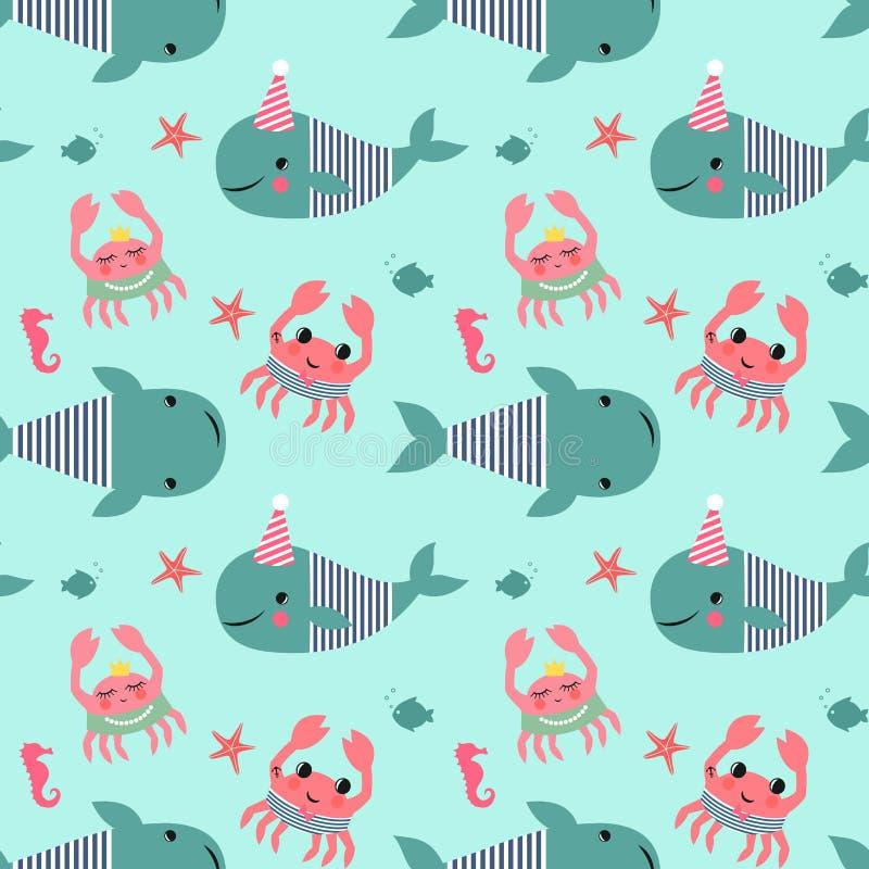 Modelo inconsútil con las ballenas, cangrejos, seahorses en fondo del verde menta ilustración del vector