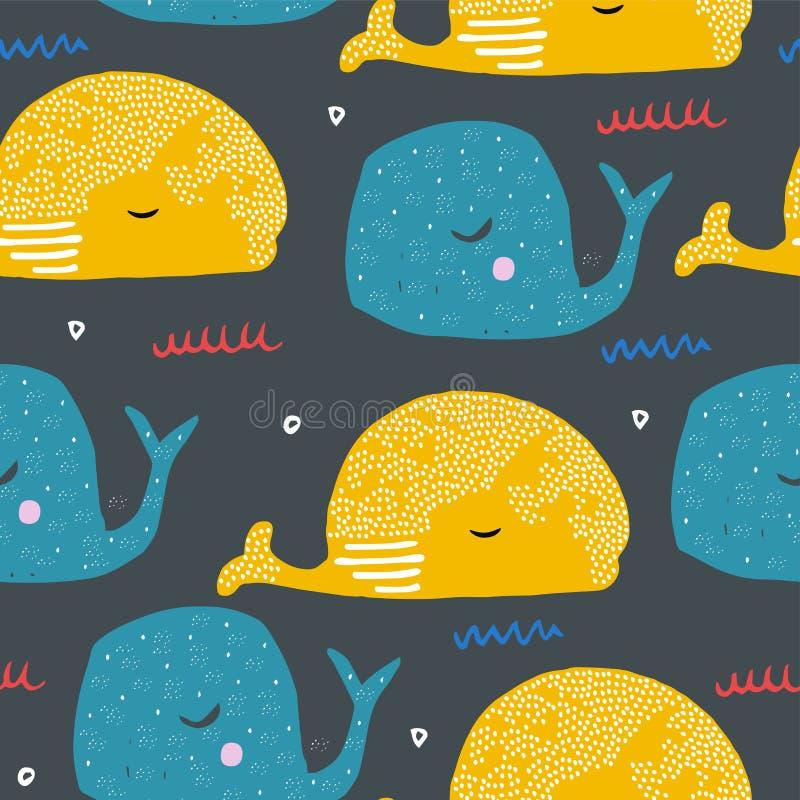 Modelo inconsútil con las ballenas de la historieta Pescados del océano Dibujo del niño para el diseño de la materia textil, del  libre illustration