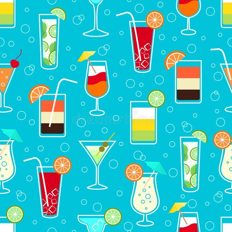 Modelo inconsútil con las bebidas del cóctel del alcohol ilustración del vector