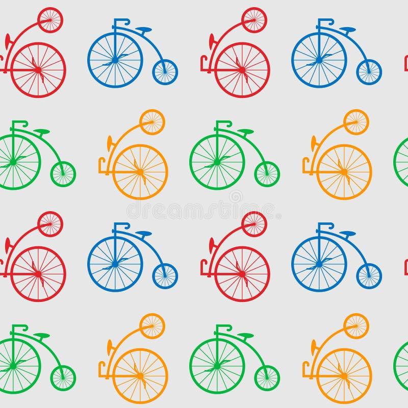 Modelo inconsútil con las bicicletas retras de la rueda grande bicicleta vieja antigua multicolora con el Penique-FARNET de las r libre illustration