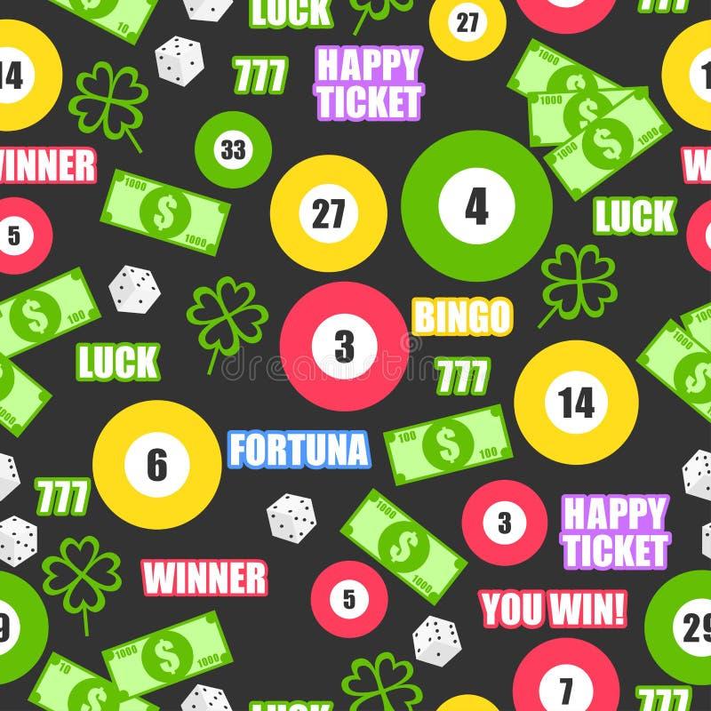 Modelo inconsútil con las bolas de juego, el dinero, el oro, listo y huesos para la lotería stock de ilustración