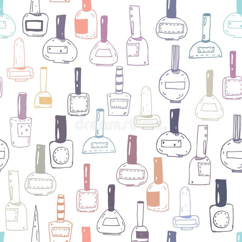 Modelo inconsútil con las botellas del esmalte de uñas, coloridas en blanco libre illustration