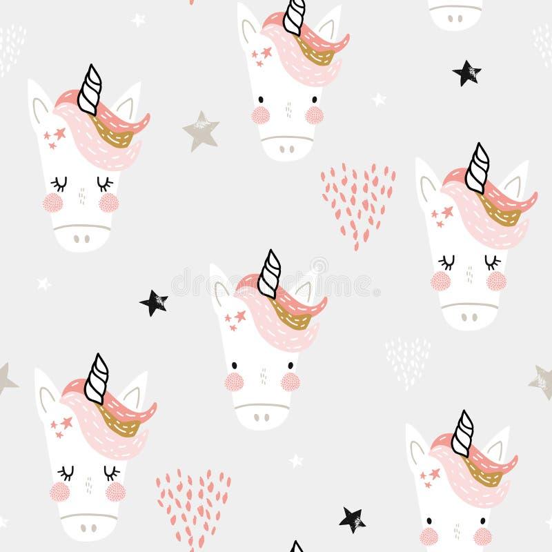 Modelo inconsútil con las cabezas de hadas lindas de los unicornios Fondo infantil creativo Perfeccione para la ropa de los ni?os ilustración del vector
