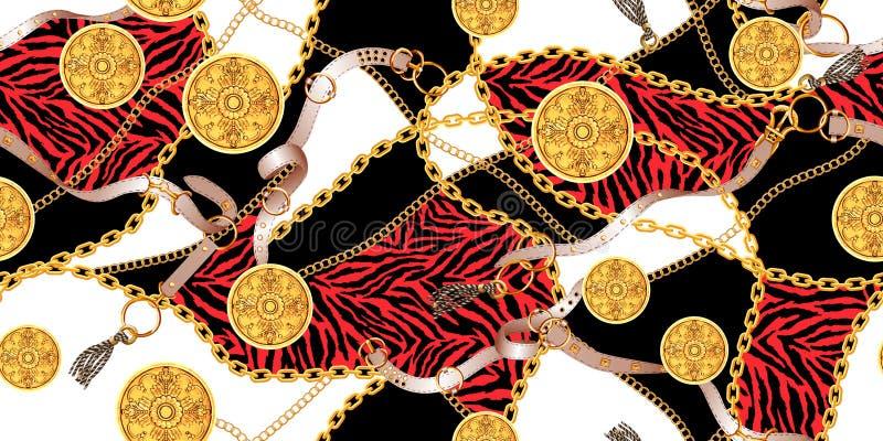 Modelo inconsútil con las cadenas de oro y las correas, piel de la cebra ilustración del vector