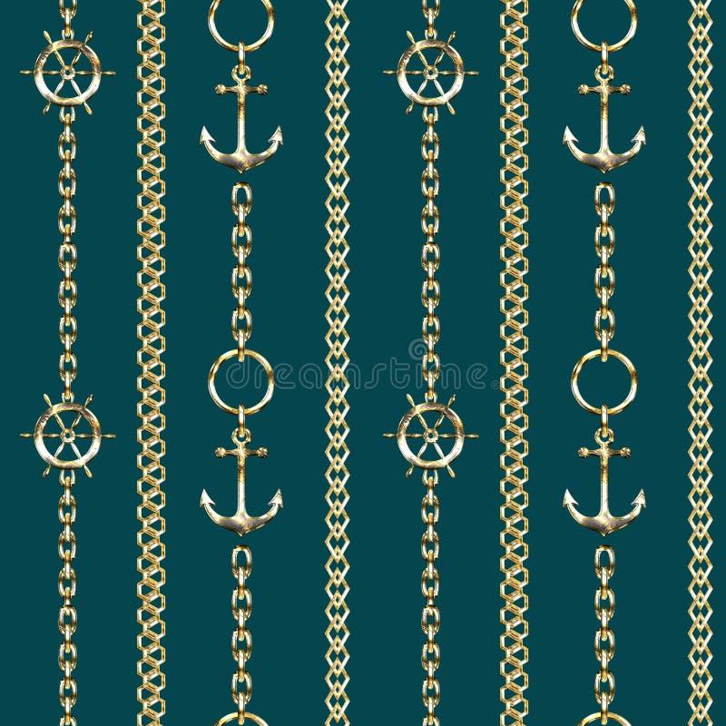 Modelo inconsútil con las cadenas del metal, las anclas y el volante en fondo de la turquesa stock de ilustración