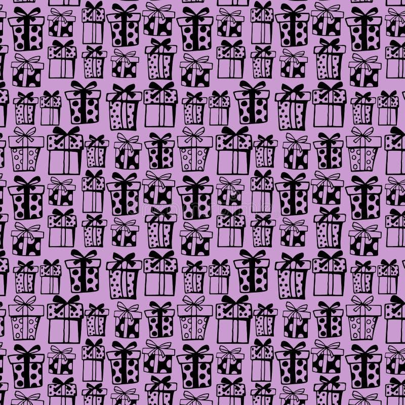 Modelo inconsútil con las cajas de regalo negras en el fondo violeta ilustración del vector