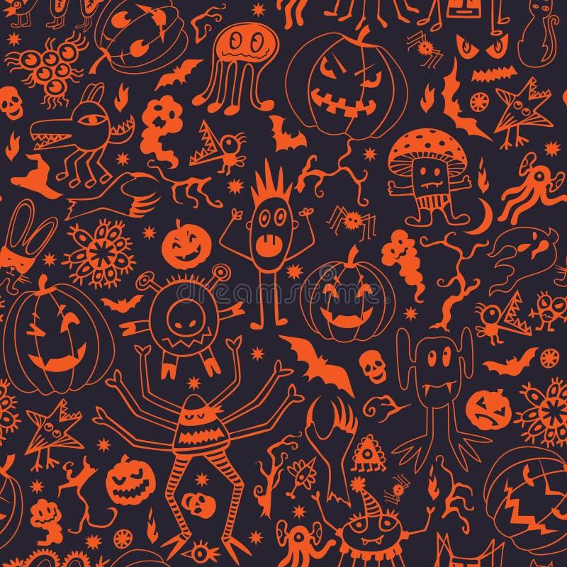 Modelo inconsútil con las calabazas y los monstruos de Halloween stock de ilustración