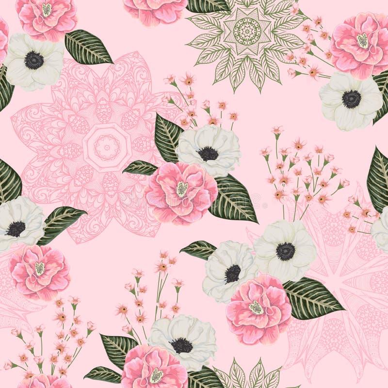 Modelo inconsútil con las camelias rosadas, las flores blancas de la anémona, el alstroemeria y el ornamento del cordón Fondo flo libre illustration