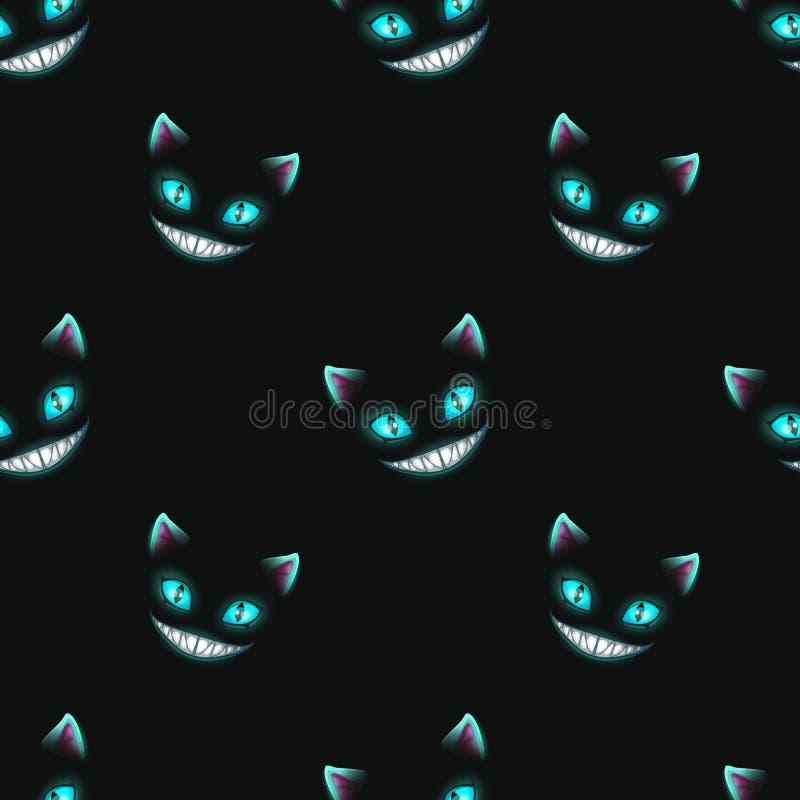 Modelo inconsútil con las caras de desaparición del gato ilustración del vector