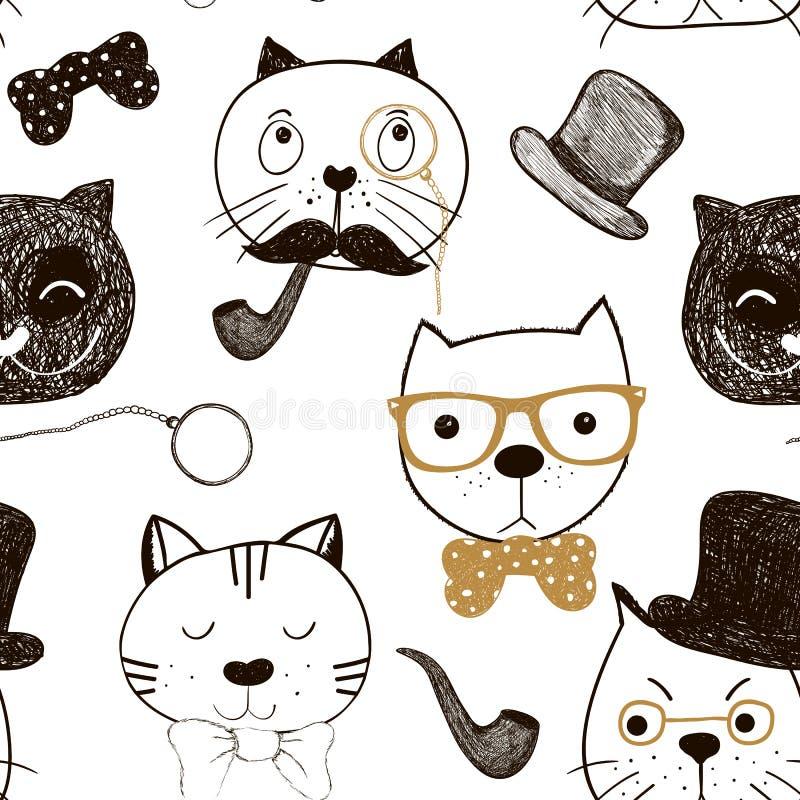 Modelo inconsútil con las caras de los gatos Fondo divertido de los gatos del garabato Ilustración del vector ilustración del vector