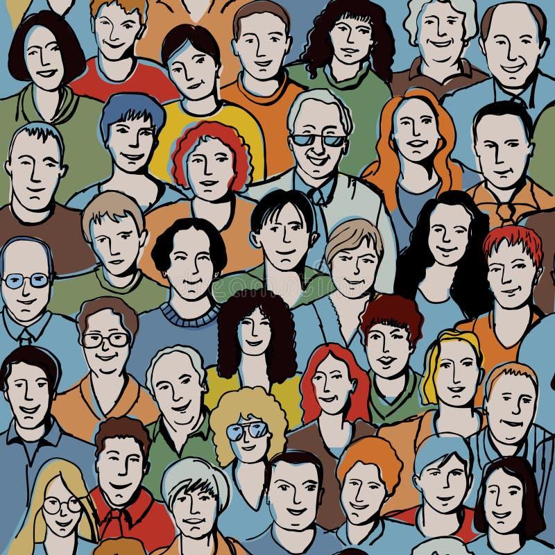 Modelo inconsútil con las caras irreconocibles de la gente. imagen de archivo libre de regalías