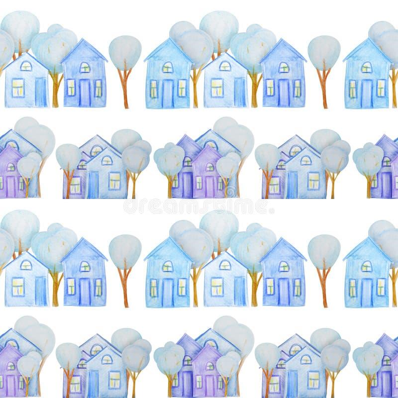 Modelo inconsútil con las casas del invierno dibujadas con los lápices coloreados stock de ilustración