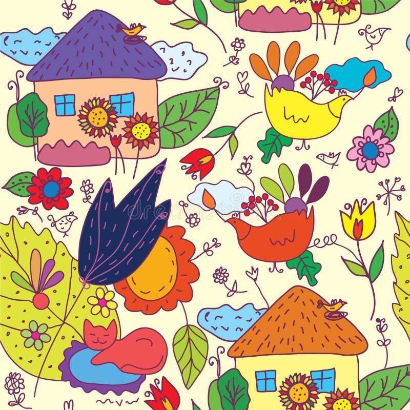 Modelo inconsútil con las casas, flores, pájaros libre illustration