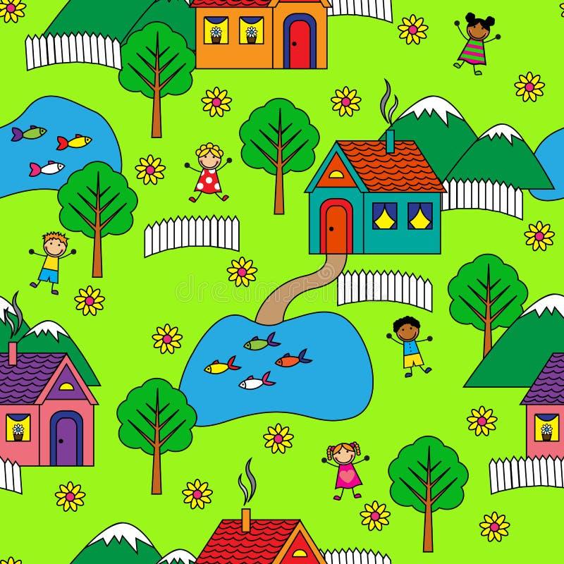 Modelo inconsútil con las casas, los árboles y la gente libre illustration