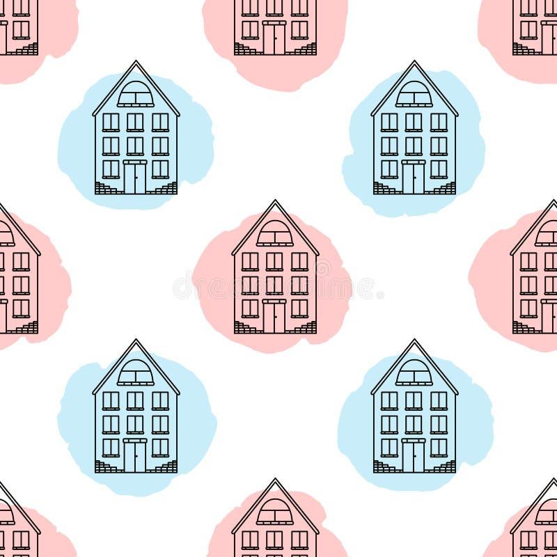 Modelo inconsútil con las casas negras y los puntos coloreados suaves libre illustration