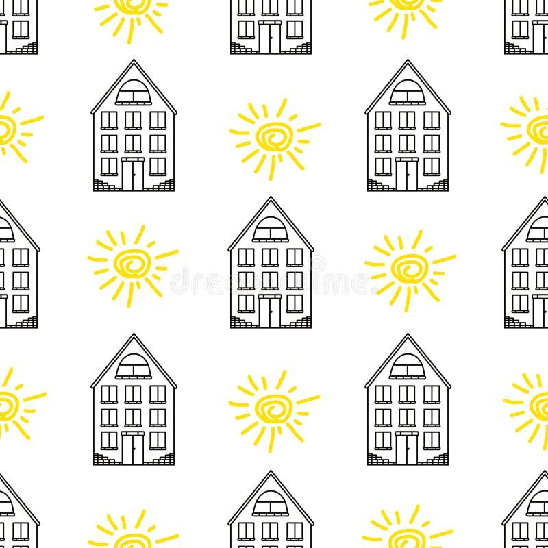 Modelo inconsútil con las casas negras y los soles amarillos stock de ilustración