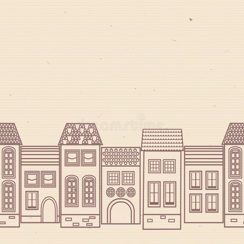 Modelo inconsútil con las casas viejas con el tejado tejado Terracota, fondo beige Vector ilustración del vector