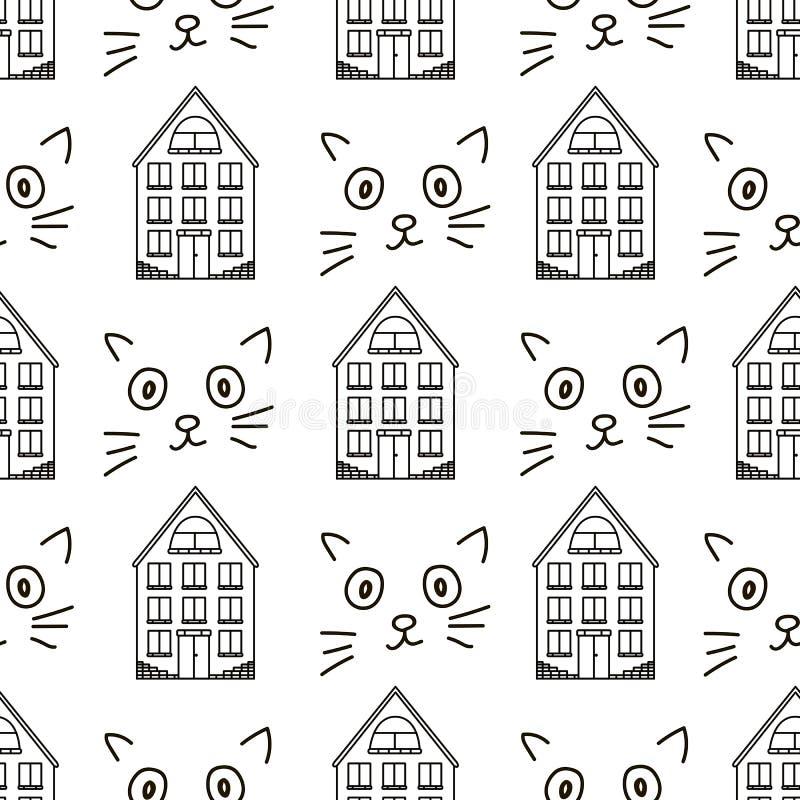 Modelo inconsútil con las casas y las caras negras del gato ilustración del vector