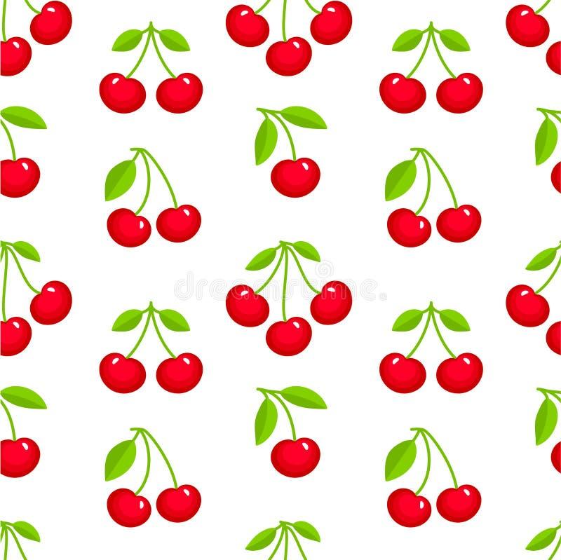 Modelo inconsútil con las cerezas maduras rojas en el fondo blanco Contexto del verano con las bayas frescas Ilustración del vect libre illustration