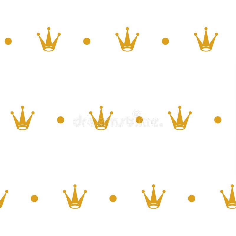 Modelo inconsútil con las coronas amarillas en el fondo blanco ilustración del vector