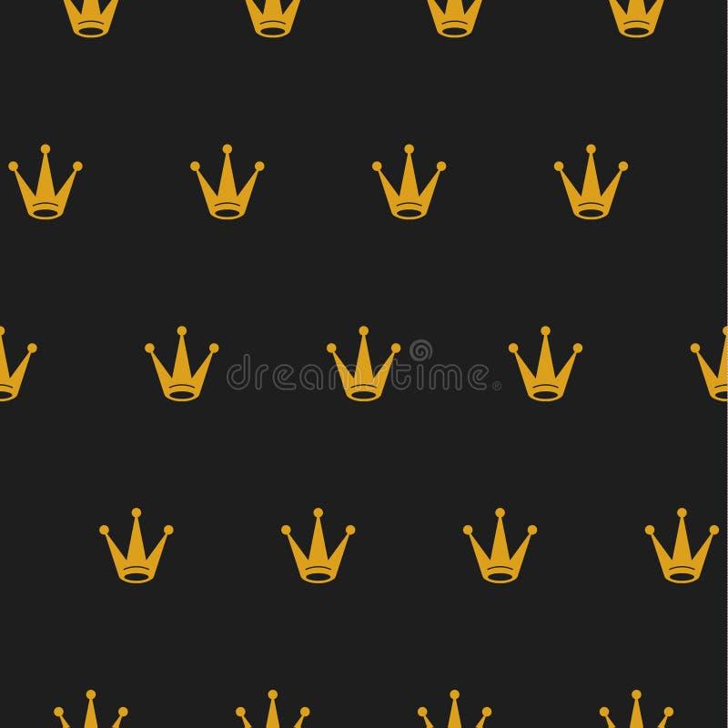 Modelo inconsútil con las coronas amarillas en fondo negro stock de ilustración