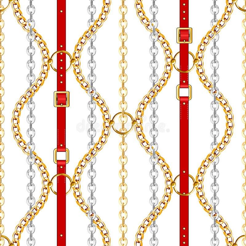 Modelo inconsútil con las correas, el oro y las cadenas de plata stock de ilustración