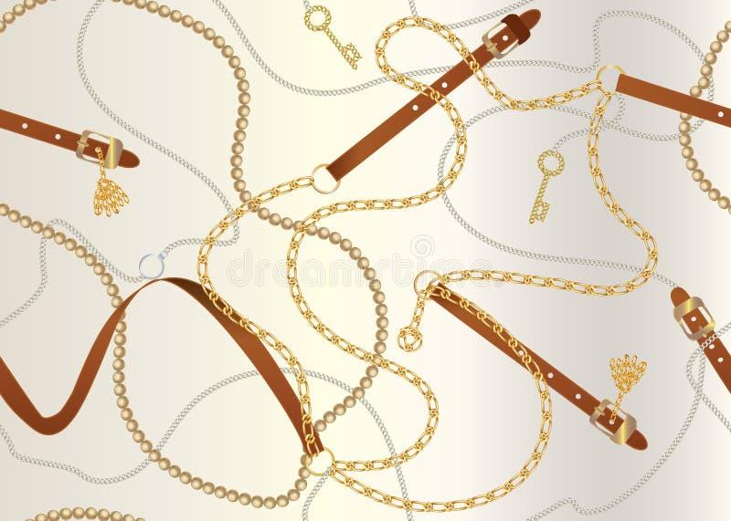 Modelo inconsútil con las correas, la cadena, la trenza, la llave de oro y las perlas Impresión barroca con los elementos de la j ilustración del vector