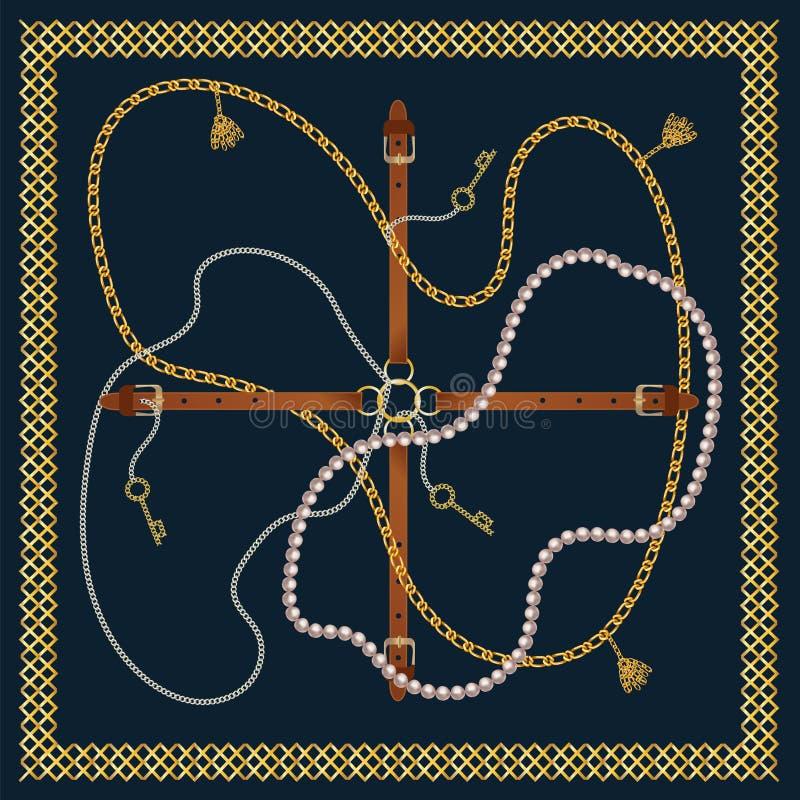 Modelo inconsútil con las correas, la cadena, la trenza, la llave de oro y las perlas Impresión barroca con los elementos de la j stock de ilustración