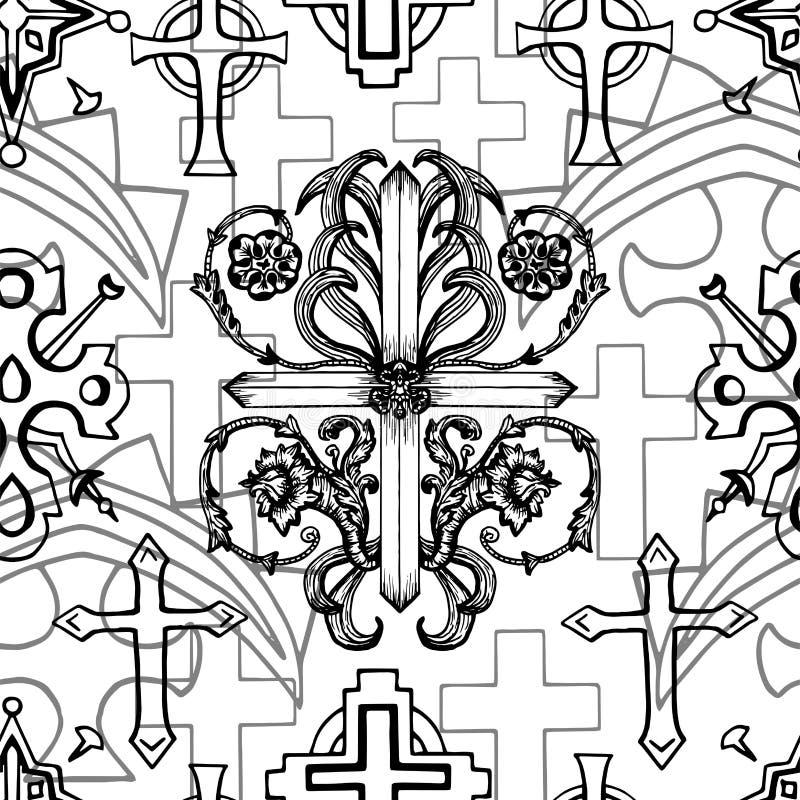 Modelo inconsútil con las cruces blancos y negros de la fantasía con los elementos barrocos ilustración del vector