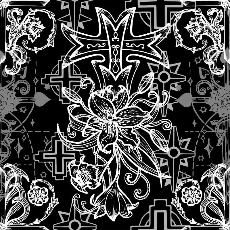 Modelo inconsútil con las cruces góticas de la fantasía con el lirio y las rosas en negro ilustración del vector