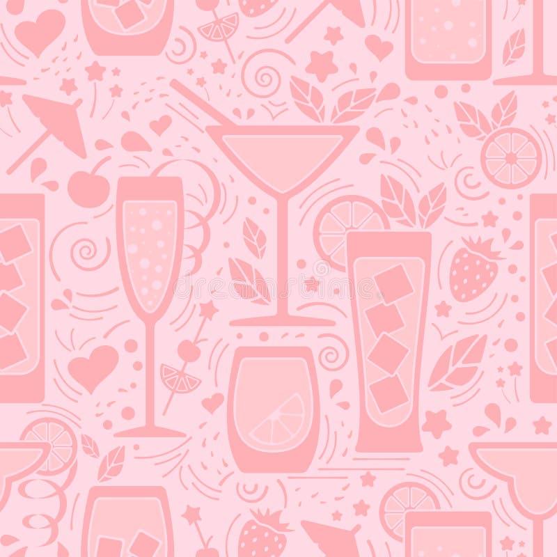 Modelo inconsútil con las diversos bebidas y elementos de la decoración libre illustration