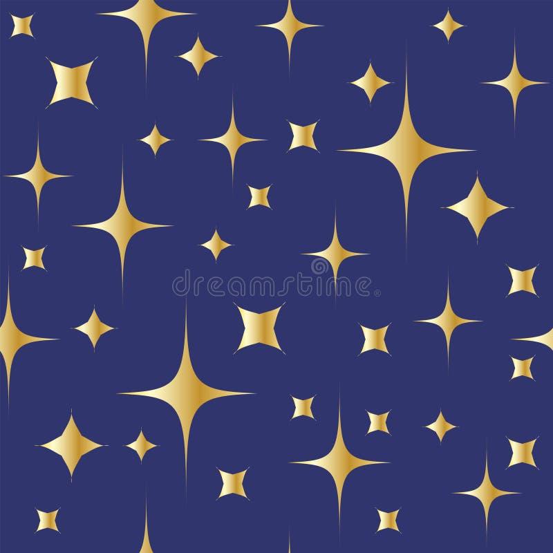 Modelo inconsútil con las estrellas brillantes del oro en fondo del cielo nocturno stock de ilustración