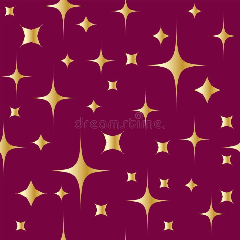 Modelo inconsútil con las estrellas brillantes del oro en fondo rojo Fondo de la Navidad o del A?o Nuevo libre illustration