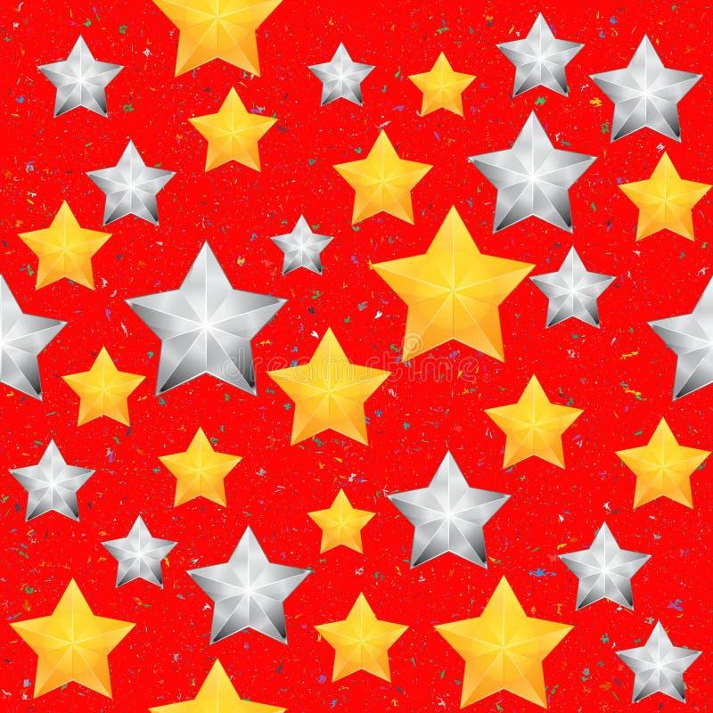 Modelo inconsútil con las estrellas de la Navidad Fondo rojo brillante del invierno ilustración del vector